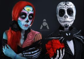 Jack And Sally Sugar Skull Skellington by Prettyscary