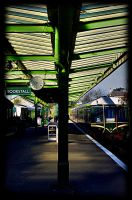the  train now sranding by awjay