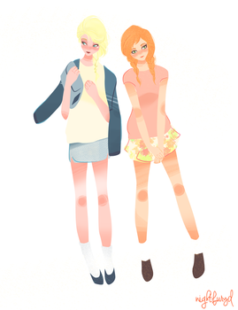 Arendelle Sisters ~modern au by electricsilhouette