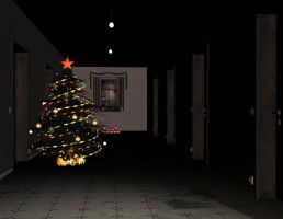 Dark corridor with xmas tree by Ecathe