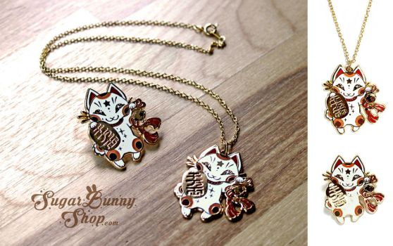 Maneki Neko Enamel Pin and Necklace by celesse