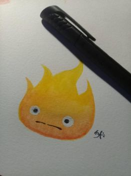 WATERCOLOUR PRACTICE # 1 CALCIFER by Robquill