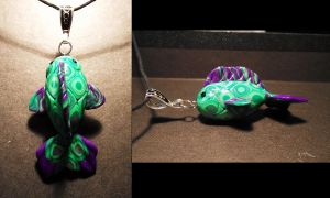 Green and purple fish pendant by ayarel