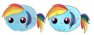 Rainbow Dash Chubby-2 versions by WillWorkForWaffles