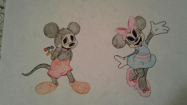 micky and Minnie Mouse by theholywolf