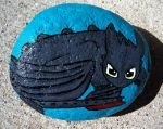 My Toothless Painted Rock by aprildraven