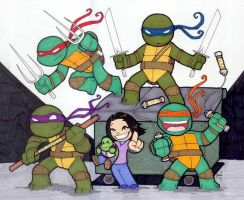 Chibi-Ninja Turtles. by hedbonstudios