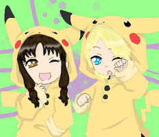 Azaura and Yamato Pikachus by Gomamon4life