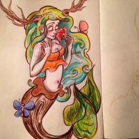Woodland Mermaid by paintingmyheartred