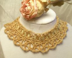 Gold Gothic Lace Choker by NevaSirenda
