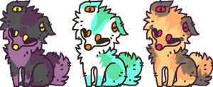 3 Wittle Adopts by AnamayCat
