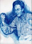 Norman Rockwell with blue pencil by Apek85