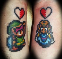 Link and Zelda Couples Tattoos by greyfoxdie85