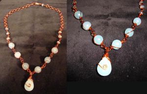 Baby Blue and copper necklace by TDGG