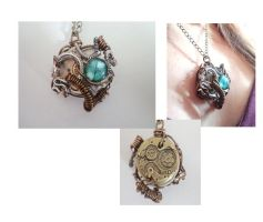 Steampunk Snake Team pendant by Rouages-et-Creations