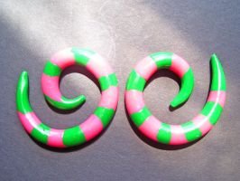 watermelon gauged earrings by minionized