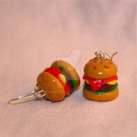 Burger earrings by elainewhy