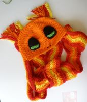 Charmander hat/scarf by lady-demeter