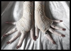 Nude Lace Fingerless Gloves by ZenAndCoffee