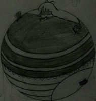 College doodle of an Inflated Goth Angel by AngelOfInflation