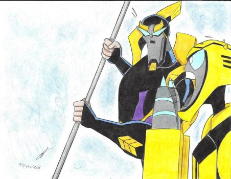 Prowl and Bumblebee transformers animated by ailgara