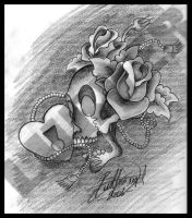 Skull, Heartlock, and Roses by lurver