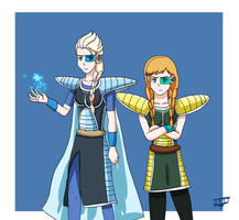 Frozen-DBZ - Anna and Elsa with Saiyan Armor by LordBlackTiger666