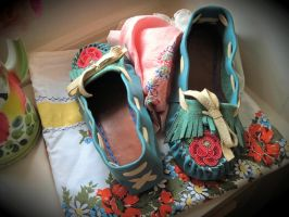 Blue Mocs with Red Rose by Theda-Blue