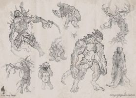 Creature Sketches 2012 by JerryTengu
