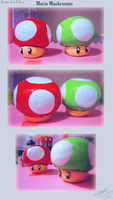 Super Mario Mushroom sculptures by lazyperson202