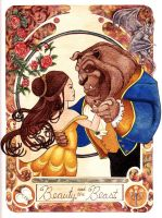 Beauty and the Beast ala Mucha by VanessaBlair