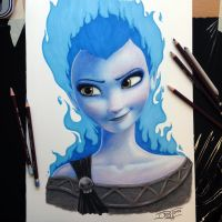 Elsa/Hades Crossover Pencil Drawing by AtomiccircuS