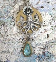 Steampunk'd Octopus necklace by clockwork-zero