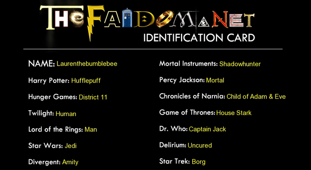 The fandom has chose me - ID card. by Laurenthebumblebee
