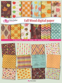 Fall Wood digital paper by PolpoDesign
