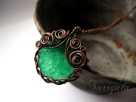 Green Chrysoprase Copper Wire Wrapped Necklace by nurrgula