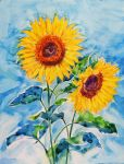 Sunflowers in the sky by HitomiOsanai
