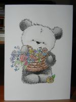 Bear with flowers Card by Pandannabelle