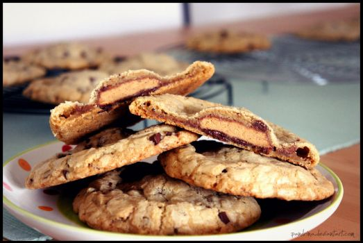 Reese's stuffed giant, chewy chocolate chip cookie by pandrina