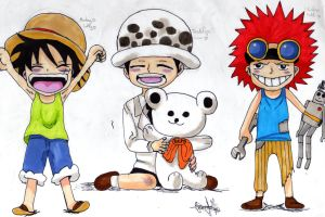 Law, kidd and luffy! by love-jerza