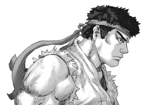 Ryu - Street Fighter - Greyscale by Mick-cortes