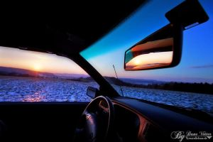 Sundown from the car by LinsenSchuss