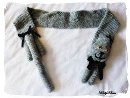 Grey Kitty Cat Scarf by Cateaclysmic
