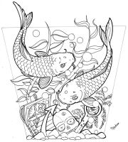 Coy fish tattoo design by paulabstruse