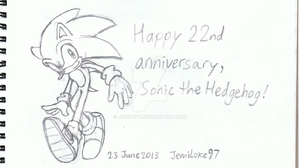 Happy 22nd Anniversary, Sonic! by JemiDove