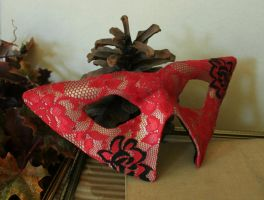 Red Lace Leather Domino Mask by nondecaf