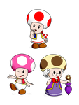 SMB_SMS_Toadpia, Toadett and Toadalue by Chivi-chivik