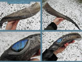 Winter Dragon drinking horn carving by fairyfrog