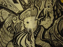 April Showers - Black Magic Ink - detail 2 by HappyHollowGlass