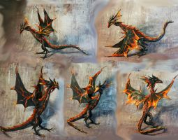 Volcano Magma Dragon leather poseable by kessan